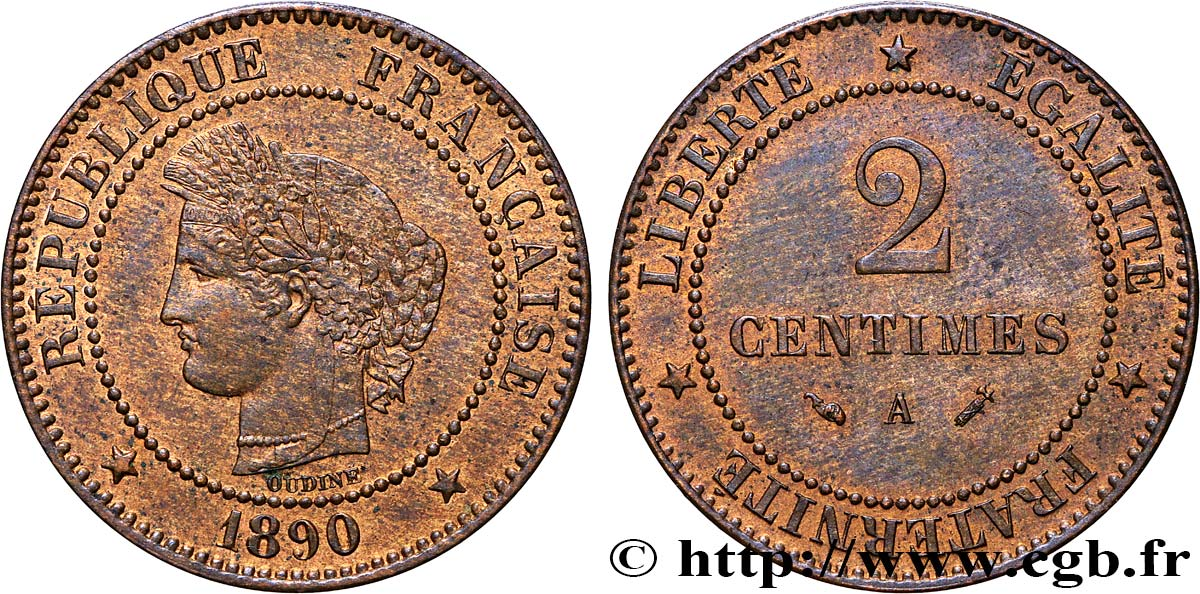 2 centimes Cérès 1890 Paris F.109/16 SUP58
