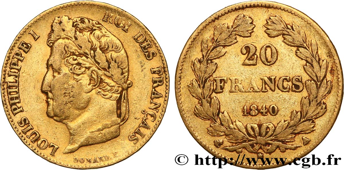20 francs or Louis-Philippe, Domard 1840 Paris F.527/22 TB+