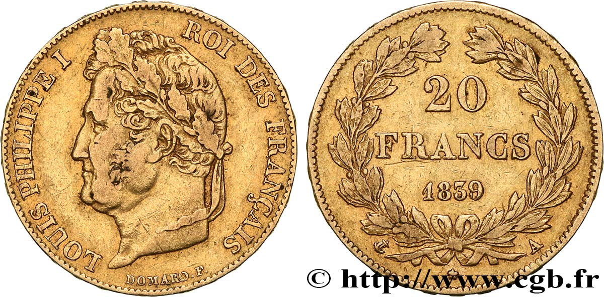 20 francs or Louis-Philippe, Domard 1839 Paris F.527/20 TB+