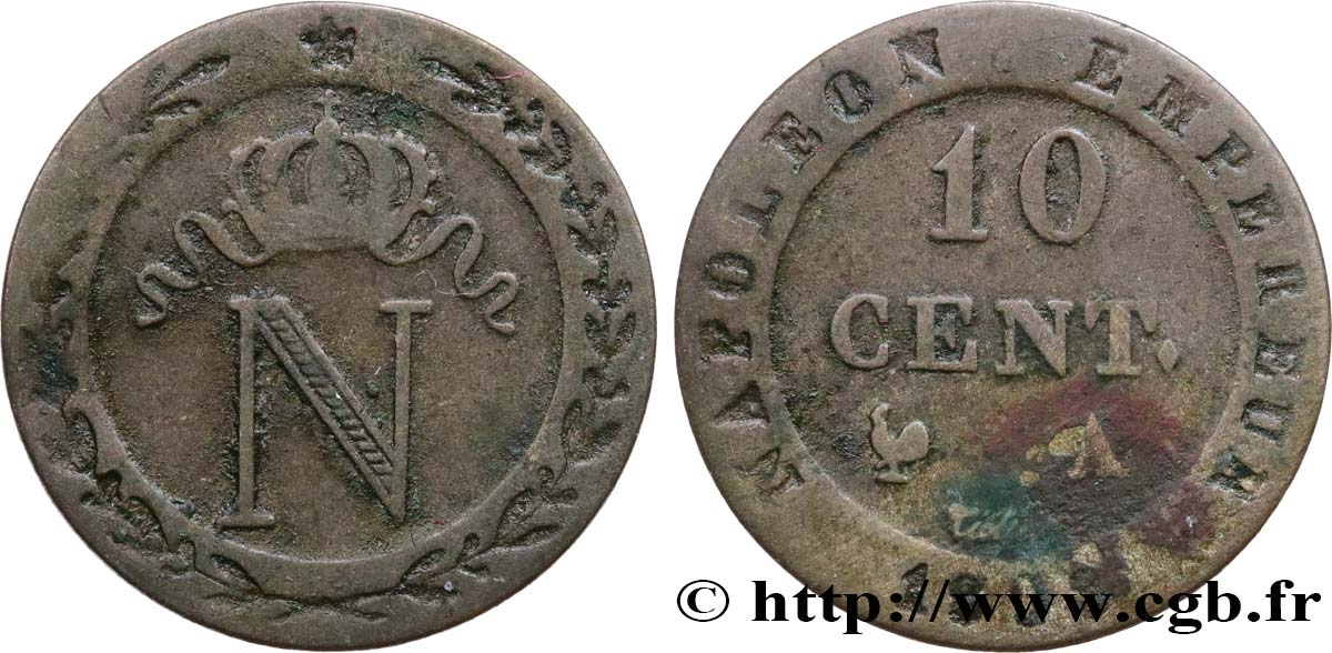 10 cent. à l N couronnée 1808 Paris F.130/2 TB