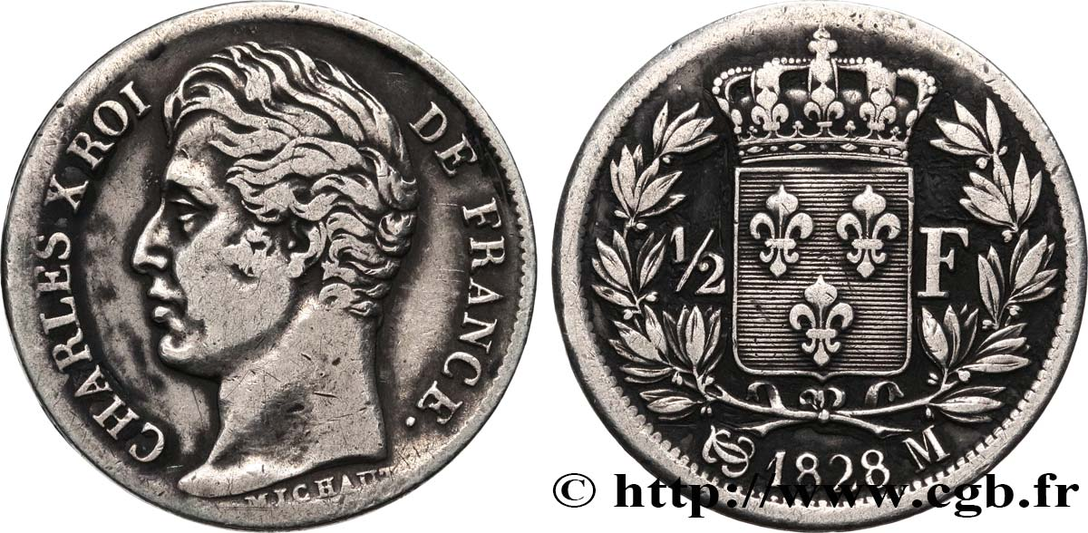 1/2 franc Charles X 1828 Toulouse F.180/33 TB