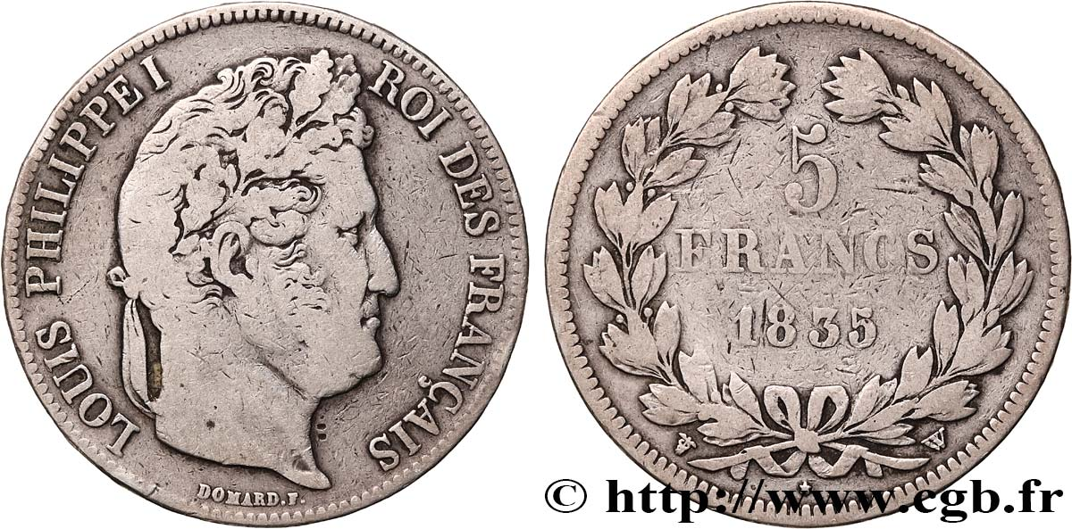 5 francs, IIe type Domard 1835 Lille F.324/52 TB