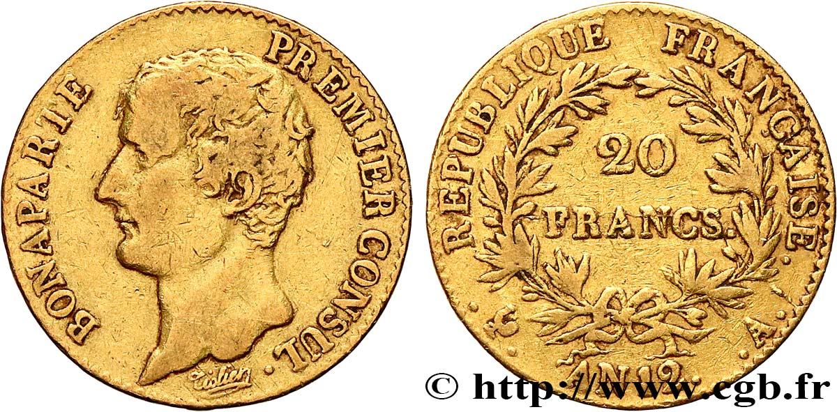 20 francs or Bonaparte Premier Consul 1804 Paris F.510/2 TB30