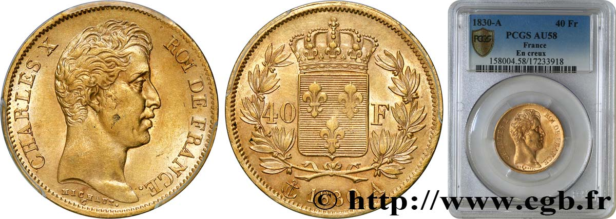 40 francs or Charles X, 2e type 1830 Paris F.544/5 AU58 PCGS