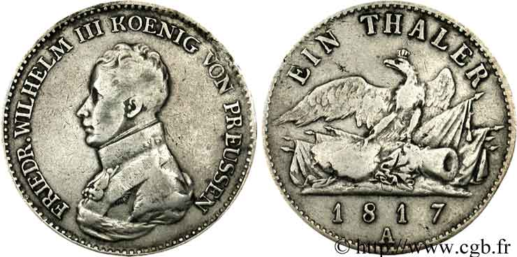 ALLEMAGNE 1 Thaler Frédéric-Guillaume III / aigle 1817 Berlin TB