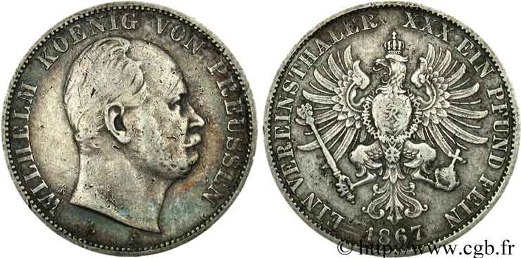 ALLEMAGNE 1 Thaler Guillaume / aigle 1867 Berlin TB
