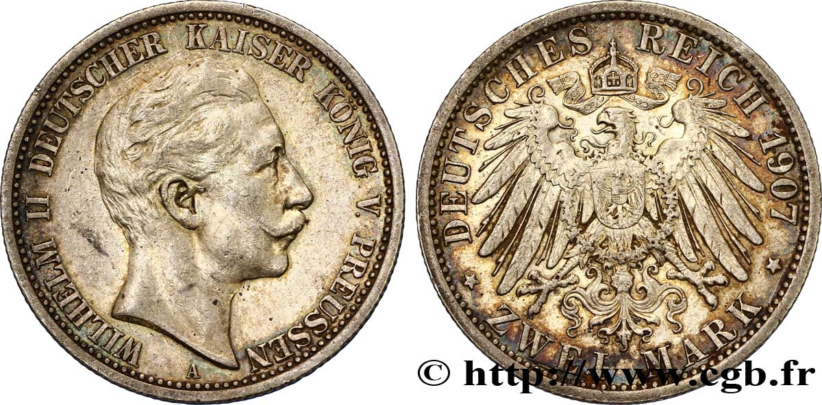 ALLEMAGNE - PRUSSE 2 Mark Guillaume II / aigle 1907 Berlin TTB