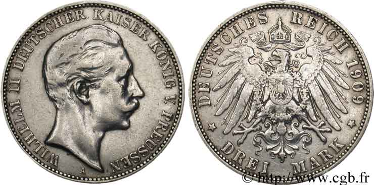 ALLEMAGNE 3 Mark Guillaume II 1909 Berlin TB