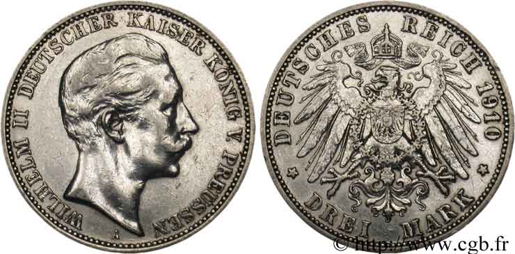 ALLEMAGNE 3 Mark Guillaume II 1910 Berlin TB