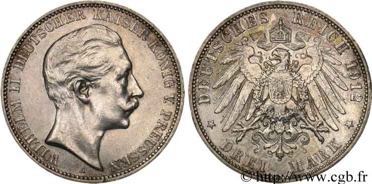 ALLEMAGNE - PRUSSE 3 Mark Guillaume II / aigle 1912 Berlin TTB