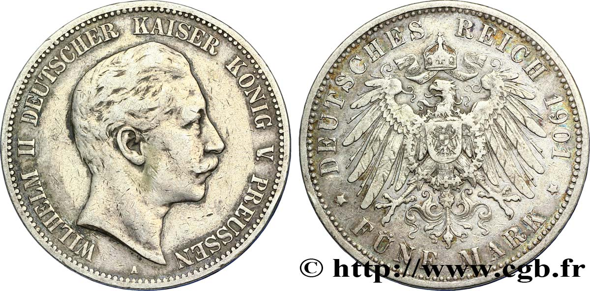 ALLEMAGNE - PRUSSE 5 Mark Guillaume II / aigle 1901 Berlin TB