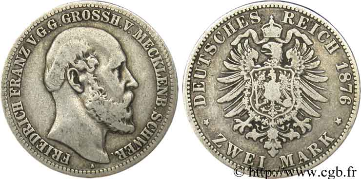 ALLEMAGNE - MECKLEMBOURG-SCHWERIN 2 Mark Frédéric-François / aigle 1876 Berlin TB
