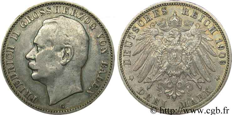 ALLEMAGNE - BADE 3 Mark Frédéric II / aigle 1909 Karlsruhe - G TB
