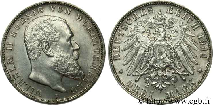 ALLEMAGNE 3 Mark Guillaume II / aigle 1914 Berlin SUP