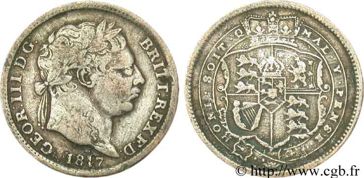 ROYAUME-UNI 1 Shilling Georges III 1817  TB