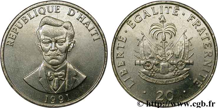 HAÏTI 20 Centimes armes / Charlemagne Peralte 1991  SPL