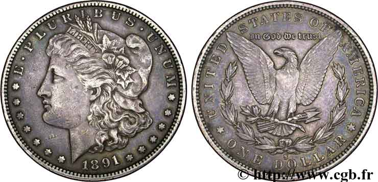 ÉTATS-UNIS D AMÉRIQUE 1 Dollar type Morgan 1891 San Francisco - S TTB