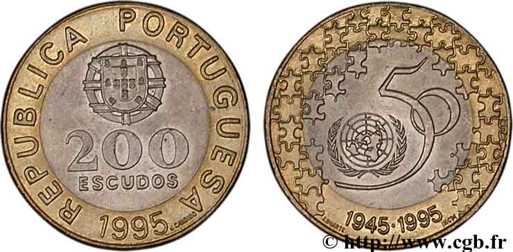 PORTUGAL 200 Escudos 50e anniversaire des Nations Unies 1995  SPL