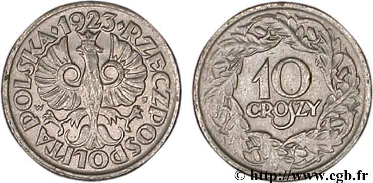 POLOGNE 10 Groszy 1923  SUP