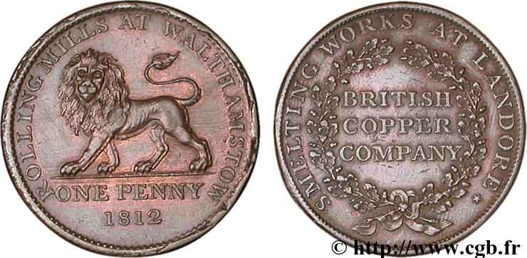 ROYAUME-UNI (TOKENS) 1 Penny British Copper Company - laminoirs de Walthamston (Essex), Lion, variété à 22 glands 1812  SUP