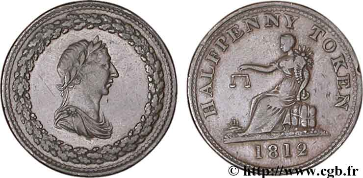 ROYAUME-UNI (TOKENS) 1/2 Penny buste de Georges III lauré / allégorie du commerce, diamètre 29 mm 1812  TTB