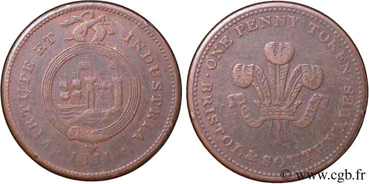ROYAUME-UNI (TOKENS) 1 Penny Bristol (Somerset) Bristol and Southern Wales, armes du prince de Galles 1811  TB