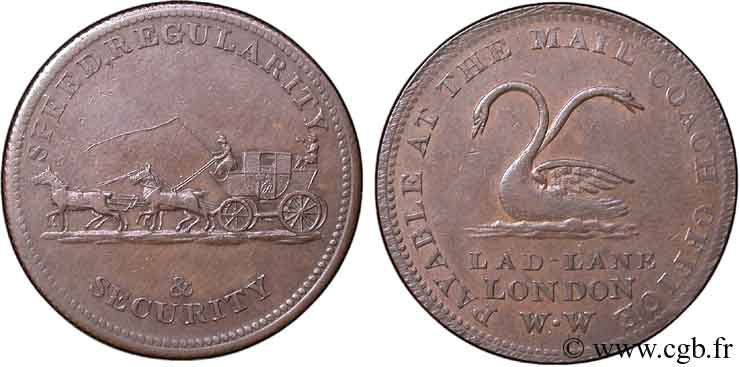 ROYAUME-UNI (TOKENS) 1/2 Penny Mail Coach Office (Middlesex ) cygnes / diligence n.d.  TTB
