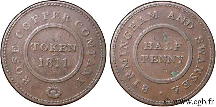 ROYAUME-UNI (TOKENS) 1/2 Penny Birmingham (Warwickshire), Birmingham and Swansea, Rose Copper Company, rose 1811  TB+