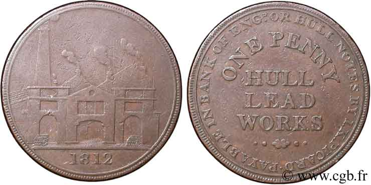 ROYAUME-UNI (TOKENS) 1 Penny Hull (Yorkshire), Hull Lead Works, vue des ateliers 1812  TTB