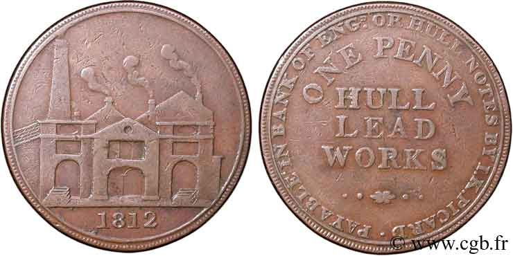 ROYAUME-UNI (TOKENS) 1 Penny Hull (Yorkshire), Hull Lead Works, vue des ateliers 1812  TB+
