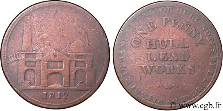 ROYAUME-UNI (TOKENS) 1 Penny Hull (Yorkshire), Hull Lead Works, vue des ateliers 1812  TB