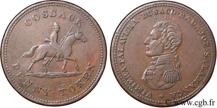 ROYAUME-UNI (TOKENS) 1 Penny Hull (Yorkshire), buste de Wellington / cosaque à cheval n.d.  TB+