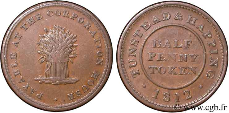 ROYAUME-UNI (TOKENS) 1/2 Penny Norwich (Norfolk), Tunstead and Happing, gerbe de blé 1812  TB+