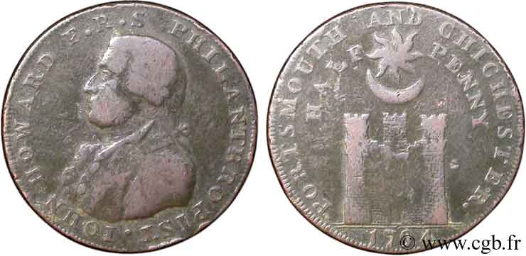 ROYAUME-UNI (TOKENS) 1/2 Penny Porthmouth (Hampshire) John Howard 1794  B