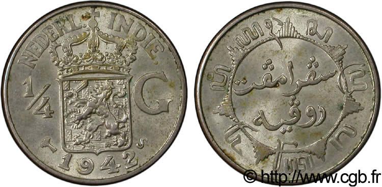 INDES NEERLANDAISES 1/4 Gulden 1942 San Francisco - S SUP