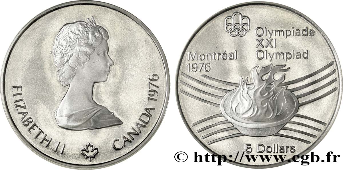 CANADA 5 Dollars Proof JO Montréal 1976 flamme olympique 1976  FDC