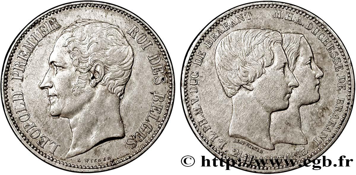 BELGIUM 5 Francs mariage du Duc et de la Duchesse de Brabant 1853
