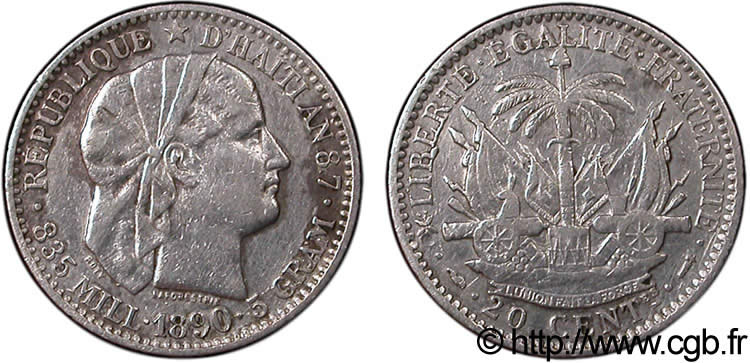 HAÏTI 20 Centimes 1890 Paris TTB