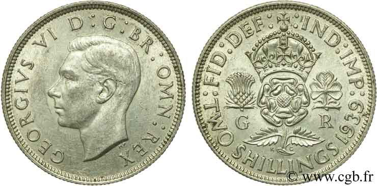 ROYAUME-UNI 1 Florin (2 Shillings) Georges VI 1939  SUP