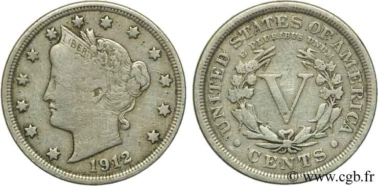 ÉTATS-UNIS D AMÉRIQUE 5 Cents Liberty Nickel 1912 Philadelphie TB