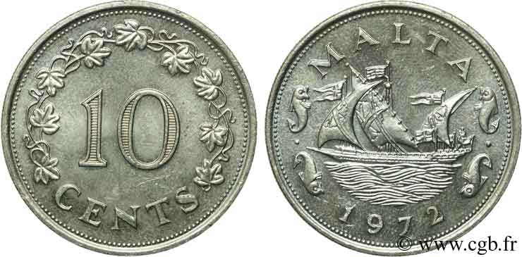 MALTE 10 Cents navire 1972  SUP