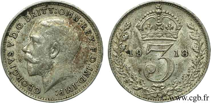 ROYAUME-UNI 3 Pence Georges VI / couronne 1918  SUP