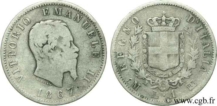 ITALY 1 Lire Victor Emmanuel II / armes de Savoie 1867 Milan - M