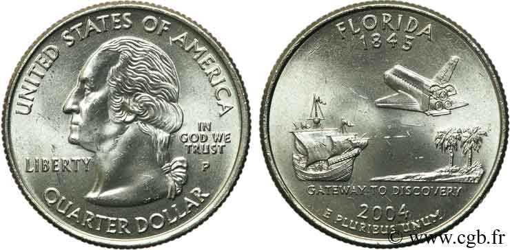 UNITED STATES OF AMERICA 1/4 Dollar Floride 2004 Philadelphie MS