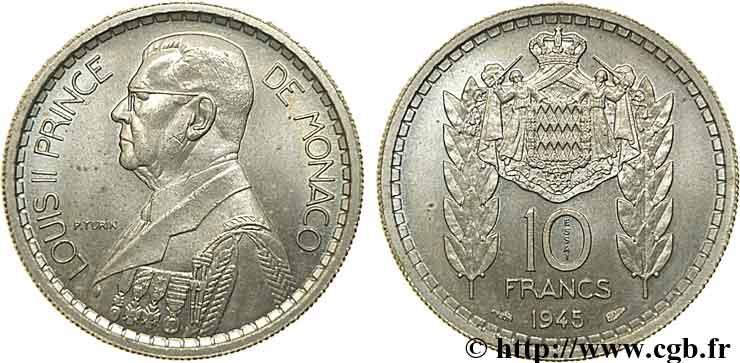 monaco essai de 10 francs louis ii 1945 paris fwo 111138 monde. Black Bedroom Furniture Sets. Home Design Ideas
