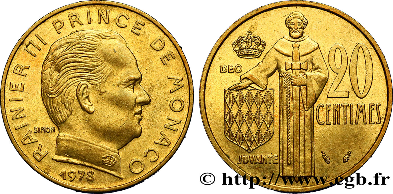 MONACO 20 Centimes Rainier III 1978 Paris SUP