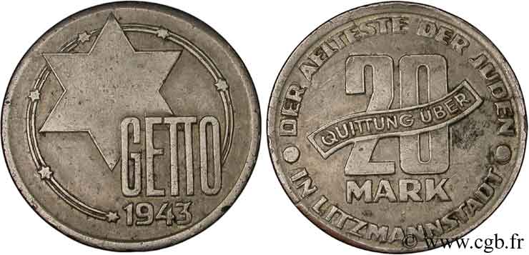 POLOGNE 20 Mark Ghetto de Lodz 1943  TB+