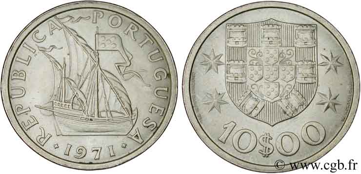 PORTUGAL 10 Escudos voilier 1971  SUP