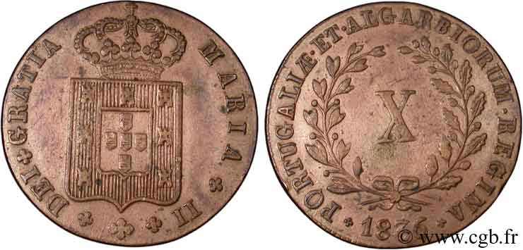 PORTUGAL 10 Réis Marie II (Maria) type 32 mm 1836  SUP