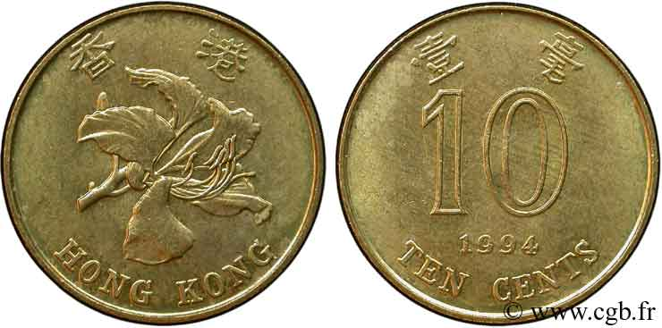 HONG KONG 10 Cents orchidée 1994  SUP